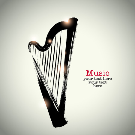 Grunge drawing harp with brushwork Illustration
