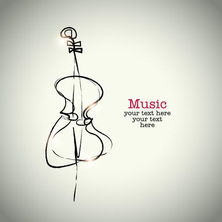 violoncello: Grunge disegno violoncello con inchiostro