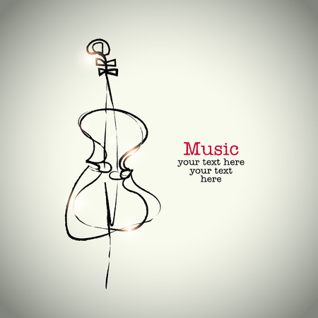 Grunge drawing cello with ink