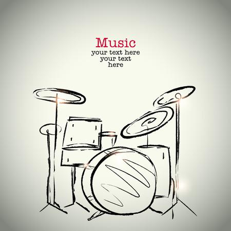 bateria musical: Dibujo Grunge tambores con tinta