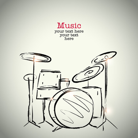 drum: Grunge drawing drums with ink Illustration