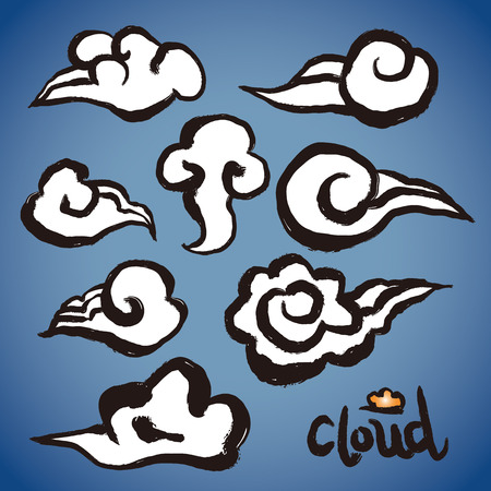 brushwork: Vector: freehand brush clouds shapes collection, Grunge drawing with brushwork