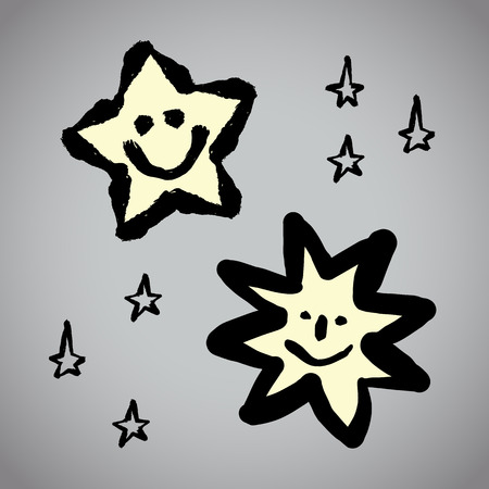 brushwork: Vector: Grunge drawing star sets with brushwork Illustration