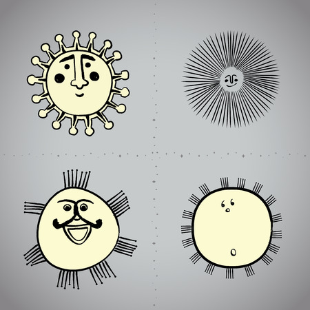 brushwork: Vector: Grunge drawing sun with brushwork