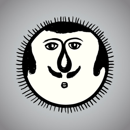 faced: Vector: Grunge drawing sun with brushwork