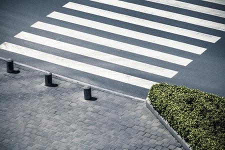 señales trafico: Paso de cebra por la vista superior Foto de archivo