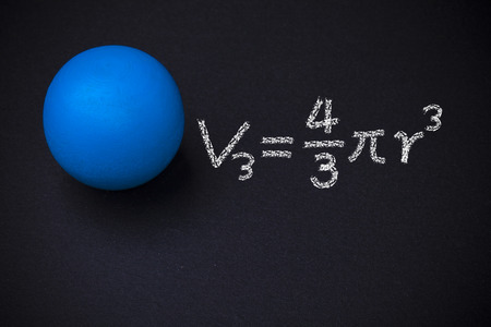 mathematical: Sphere and mathematical formulas on blackboard Stock Photo