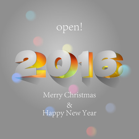 paper folding: 2016: Paper Folding with Letter with colorful spot lights Happy New Year.