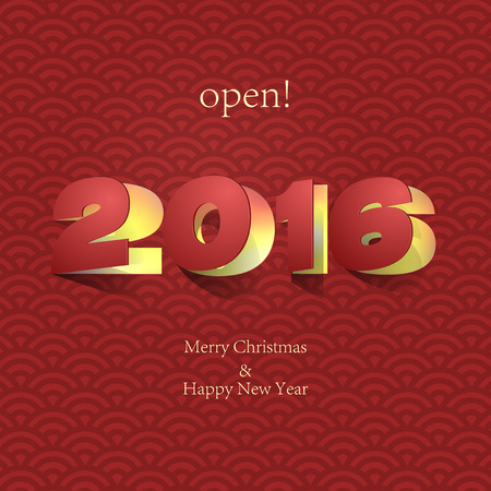 paper folding: 2016: Paper Folding with Letter on Chinese red background Happy New Year. Illustration