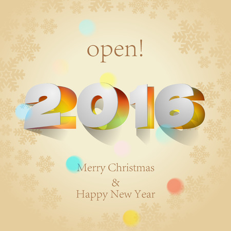 paper folding: 2016: Paper Folding with Letter with snowflakes background Happy New Year. Illustration