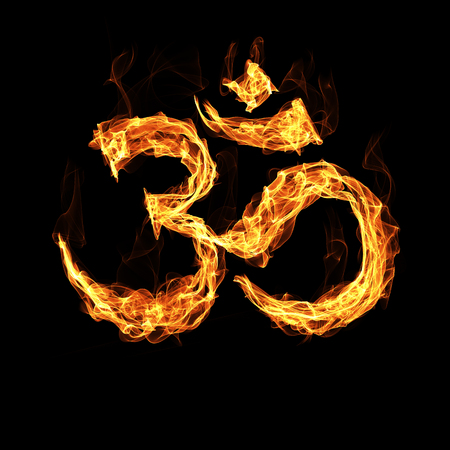 india culture: Om sign by fire