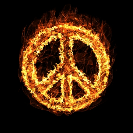 abstract swirls: Hippie Peace Symbol by fire