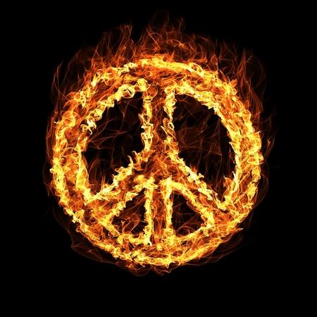 simbolo della pace: Simbolo di pace Hippie da un incendio