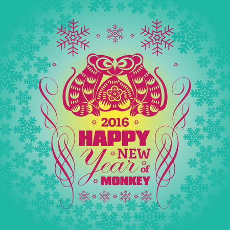 greeting card background: 2016: Vector Chinese New Year greeting card background with paper cut. Year of the monkey, Asian Lunar Year. Illustration