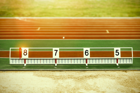 sand pit: Athletics long jump sand pit with marks Stock Photo