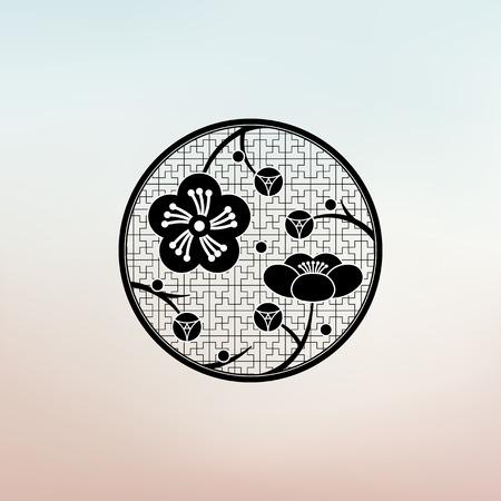 flores chinas: estilo oriental pattarn flor del ciruelo, flor de cerezo Vectores