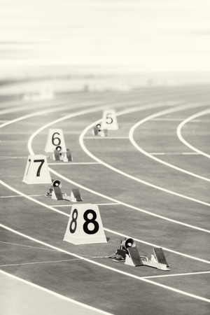 starting: starting block in track and field Stock Photo
