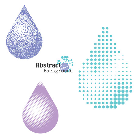 drinkable: Halftone and stippling water drop icons set, illustration.