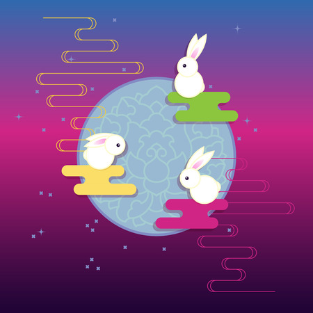 lantern festival: Moon and Three Rabbits of Mid Autumn Festival. Illustration
