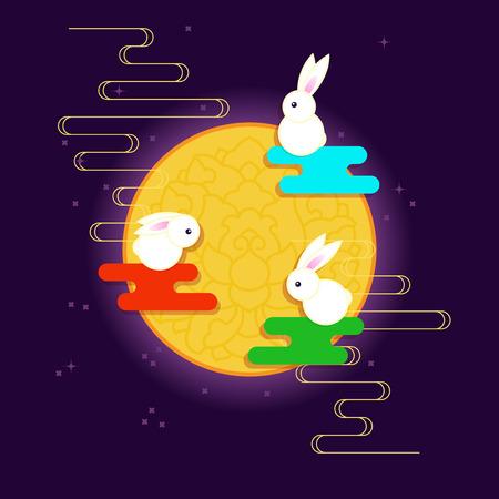 Moon Three Rabbits of Mid Autumn Festival.