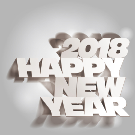 paper folding: 2018 Gray Tone Paper Folding with Letter in Spot Lights, Happy New Year.