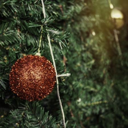 christmas tree ball: Christmas ball decoration  on green tree