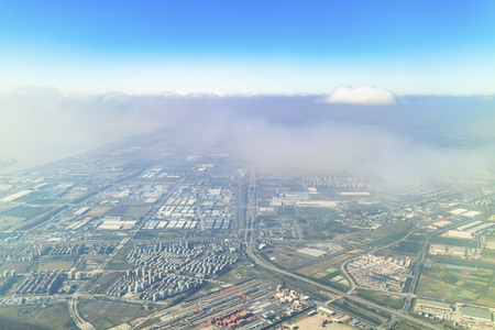 Aerial view of the Shanghai suburb from the plane window