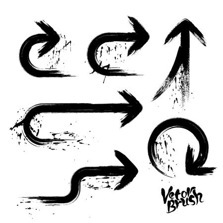 grimy: Hand drawn paintbrush vector grunge  arrows set