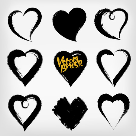 actual: Set of hand drawn paint object for design use. Abstract brush drawing. Vector art illustration grunge hearts, Hand drawn hearts. Design elements for Valentines day.