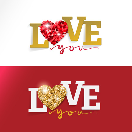 blessings: LOVE Happy Valentines day card, Design greeting cards and banners. Concept for wedding invitation. Illustration