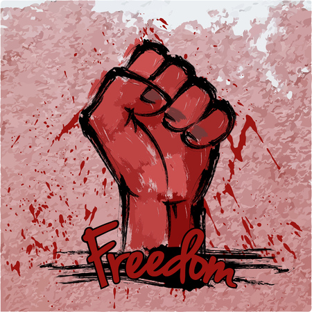 Fist with asian brushwork and text freedom on wall, freedom concept.