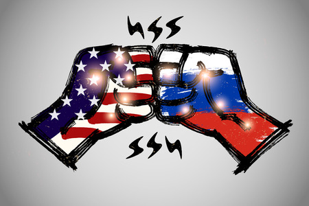 meet and greet: Fist Bump with brushwork,  International relations concept, USA and Russia. Illustration