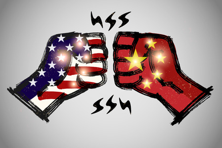 Fist Bump with brushwork,  International relations concept, USA and China.