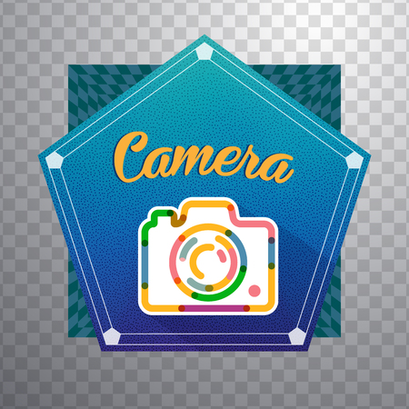 vibrant background: photography Camera with colorful vibrant geometry shapes illustration background.