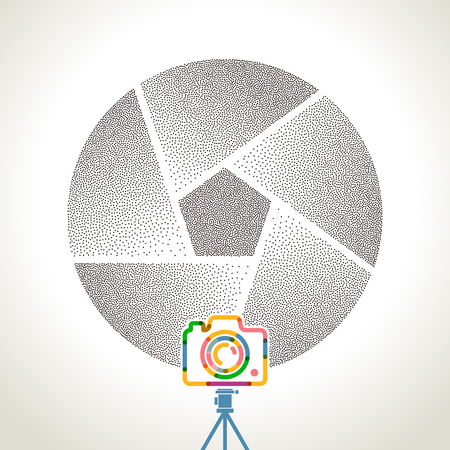 communication: photography Camera with colorful vibrant geometry shapes illustration background.
