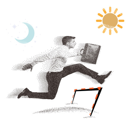 Vector: Spray texture business Man, jumping Man, office workers, particle divergent composition. Illustration
