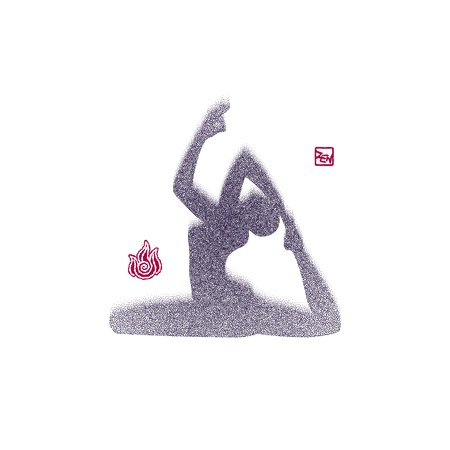 woman pose: Spray texture Woman in yoga pose icon.