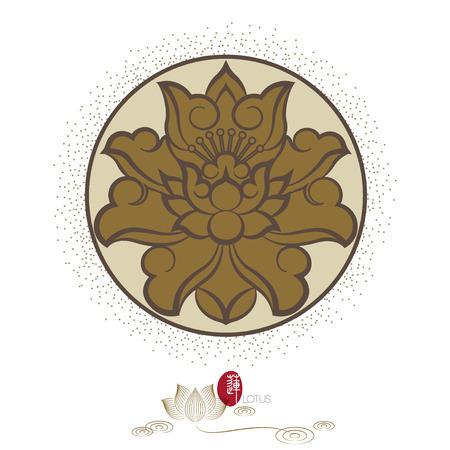 Chinese virtual po-phase flowers: lotus,paeony suffruticosa, chrysanthemum composition.