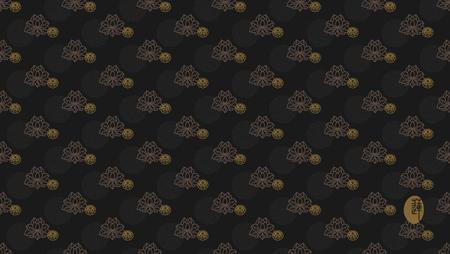 Seamless continuous wallpaper tile. Lotus flower design with black tones. Hieroglyph lotus.