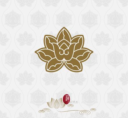 lotus on seamless pattern background. Illustration