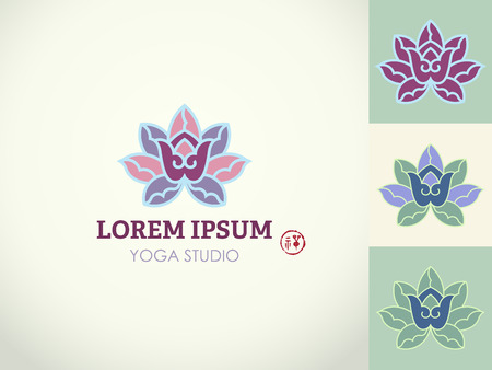 centers: design template and emblem made with yogic hand gesture gestures and lotus - beauty and spa - badge for yoga classes, holistic centers, natural cosmetics - meditation and health concept, hieroglyph zen.