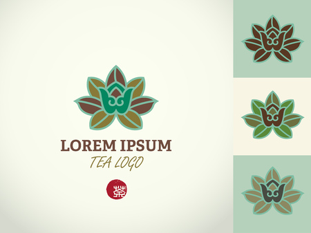 design template and emblem made with leaves and flowers, badge for tea time, health concept, Hieroglyph tea