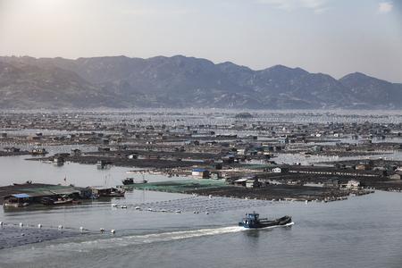 eating area: Seafood fish farming,Fishery on sea, Fujiang, China.