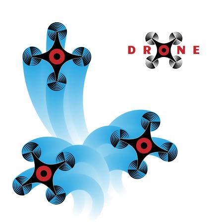 Drone technology banner illustration. Unmanned aerial vehicle. Modern flying device. Illustration