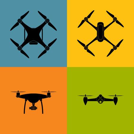 Drone quadrocopter icon symbol. Illustration