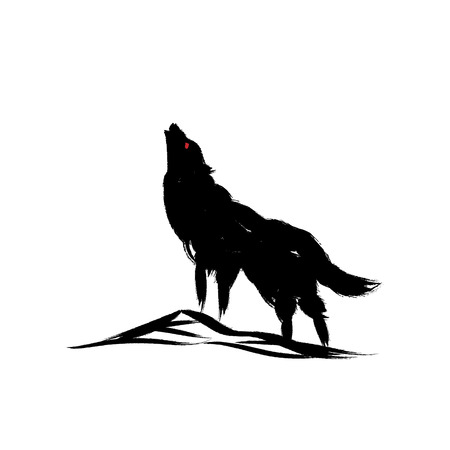 isolated howling wolf with oriental strokes style. Illustration