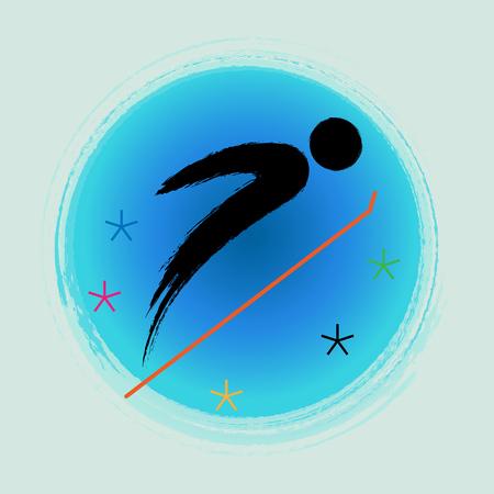 Ski jumping - Winter games icon.