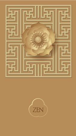 golden lotus mandala on Chinese classical pane Ilustrace