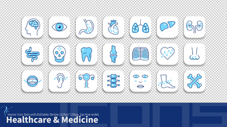 Modern simplicity line icon set with editable stroke. Healthcare & Medicine pack. Stock Illustratie