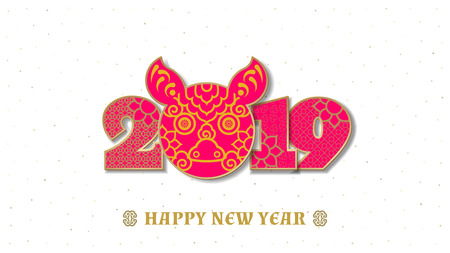 illustration. 2019 Happy New Year design template, Asian Lunar Year.